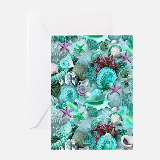Green Seashells And starfish Greeting Cards