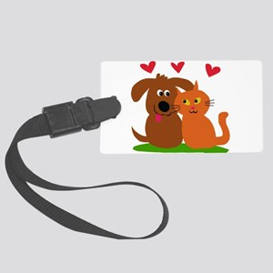 Puppy kitty love Large Luggage Tag