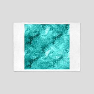 Cyan Crystal Glass Pattern 5'x7'Area Rug