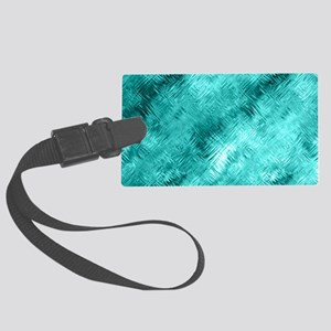 Cyan Crystal Glass Pattern Large Luggage Tag