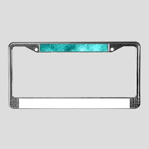 Cyan Crystal Glass Pattern License Plate Frame