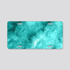 Cyan Crystal Glass Pattern Aluminum License Plate