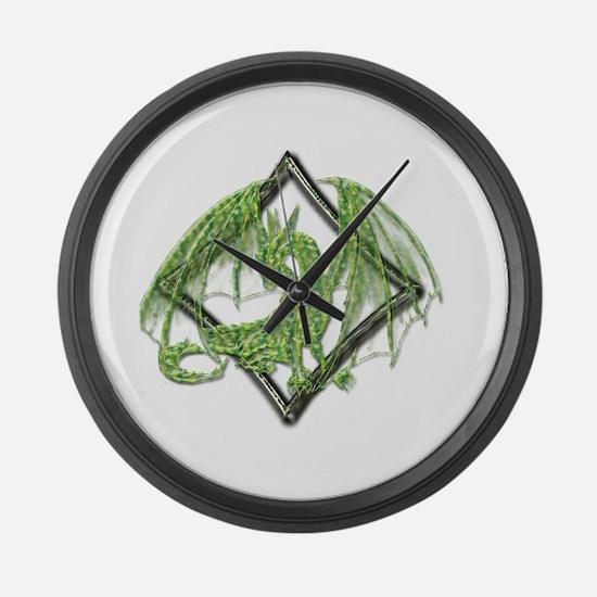 Green Dragon on Diamond Large Wall Clock