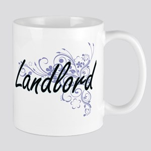 Landlord Artistic Job Design with Flowers Mugs