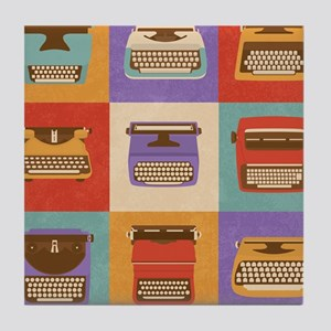 Vintage Retro Typewriter Icons Tile Coaster