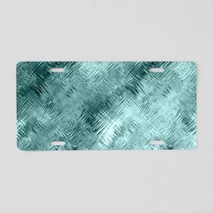 Teal Glassy Crystal Gel Pat Aluminum License Plate
