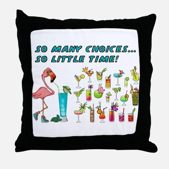 Flamingo Happy Hour Throw Pillow