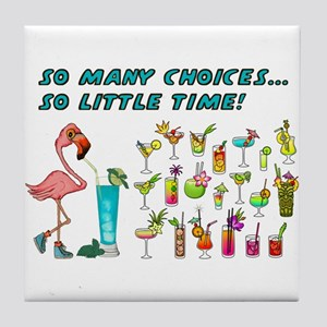 Flamingo Happy Hour Tile Coaster