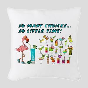 Flamingo Happy Hour Woven Throw Pillow