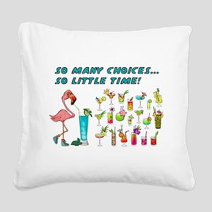 Flamingo Happy Hour Square Canvas Pillow