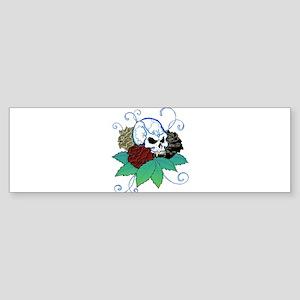 Rose Skull Bumper Sticker