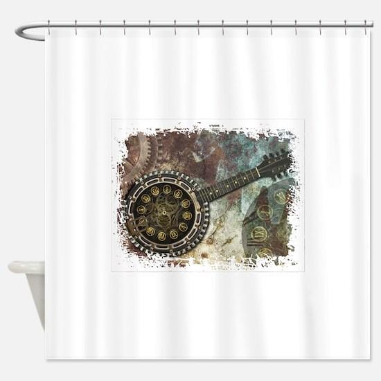 Steampunk Banjo Shower Curtain