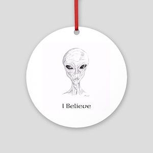 I Believe Gray Alien Round Ornament