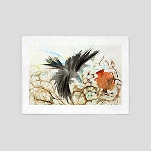 Watercolor Raven 5'x7'Area Rug