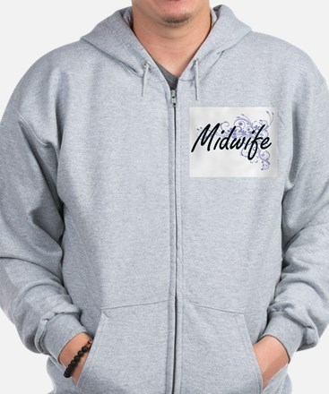 Midwife Artistic Job Design with Flower Zip Hoodie