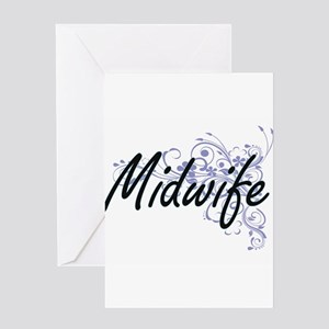 Midwife Artistic Job Design with Fl Greeting Cards