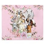 Goat Watercolor Portraits - Pink King Duvet