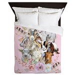 Goat Watercolor Portraits - Pink Queen Duvet