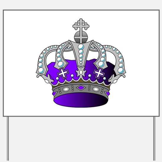 Silver & Purple Royal Crown Yard Sign