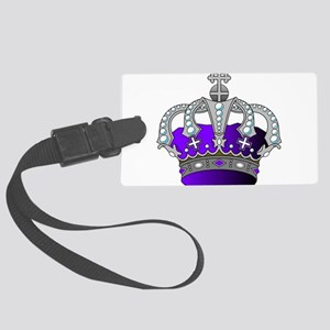 Silver & Purple Royal Crown Large Luggage Tag