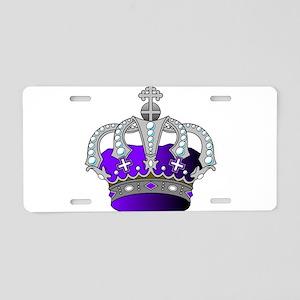 Silver & Purple Royal Crown Aluminum License Plate
