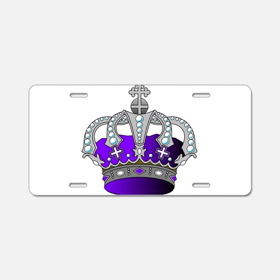 Silver & Purple Royal Crown Aluminum License Plate