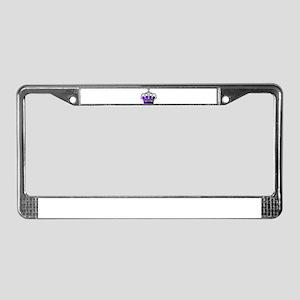 Silver & Purple Royal Crown License Plate Frame