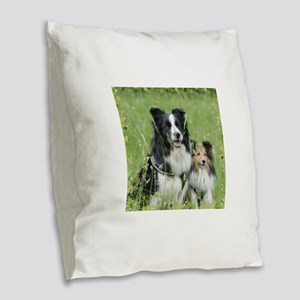 Border Collie and Shetland She Burlap Throw Pillow