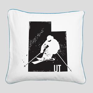Ski Utah Square Canvas Pillow