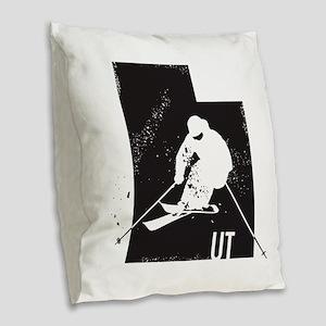 Ski Utah Burlap Throw Pillow