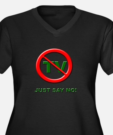 Just Say No To TV Women's Plus Size V-Neck Dark T-