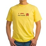 I Love Fire Trucks Yellow T-Shirt