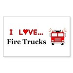 I Love Fire Trucks Sticker (Rectangle 10 pk)