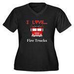 I Love Fire Women's Plus Size V-Neck Dark T-Shirt
