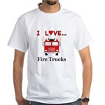 I Love Fire Trucks White T-Shirt