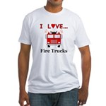 I Love Fire Trucks Fitted T-Shirt