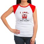 I Love Fire Trucks Junior's Cap Sleeve T-Shirt