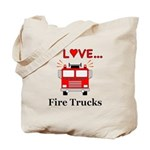I Love Fire Trucks Tote Bag