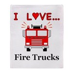 I Love Fire Trucks Throw Blanket