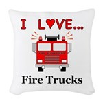 I Love Fire Trucks Woven Throw Pillow