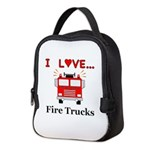I Love Fire Trucks Neoprene Lunch Bag