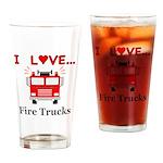 I Love Fire Trucks Drinking Glass