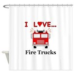I Love Fire Trucks Shower Curtain