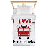 I Love Fire Trucks Twin Duvet