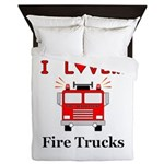 I Love Fire Trucks Queen Duvet