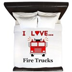 I Love Fire Trucks King Duvet