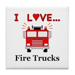 I Love Fire Trucks Tile Coaster