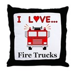 I Love Fire Trucks Throw Pillow