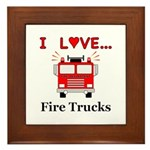 I Love Fire Trucks Framed Tile