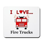 I Love Fire Trucks Mousepad
